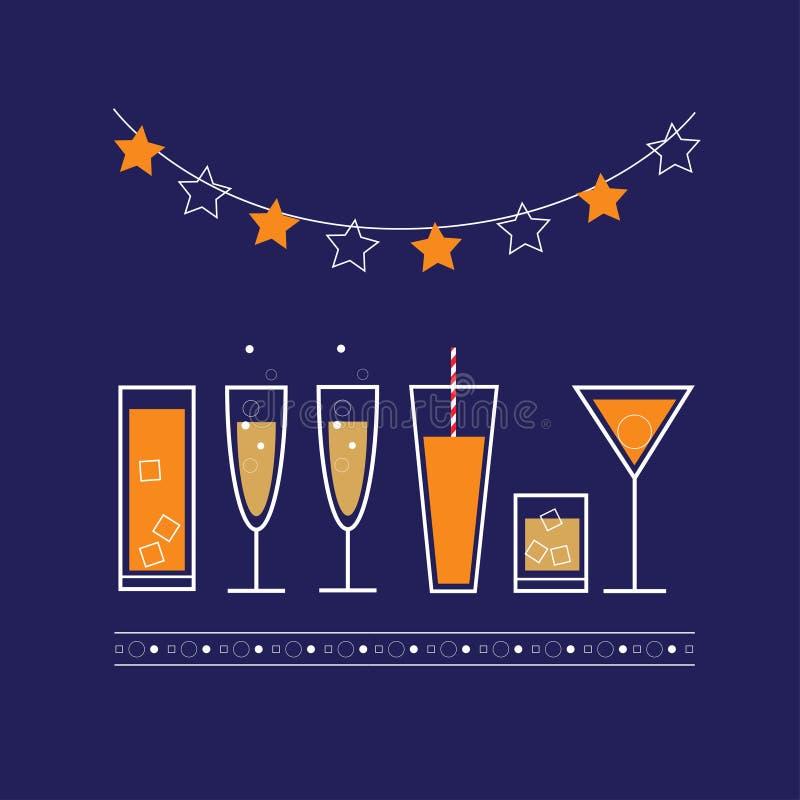 Vektorpartiaffisch med drinkar och coctailar Illustration för partiinbjudan stock illustrationer