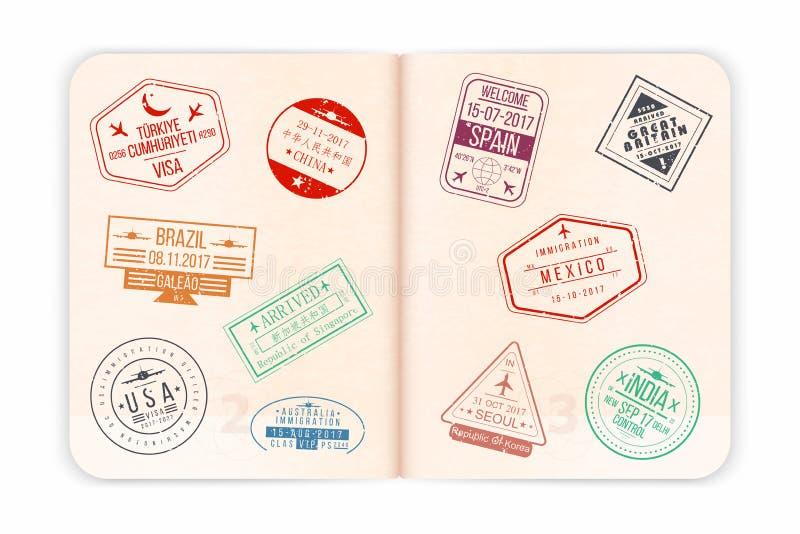 Vektorpass med visumstämplar Öppna passsidor stock illustrationer