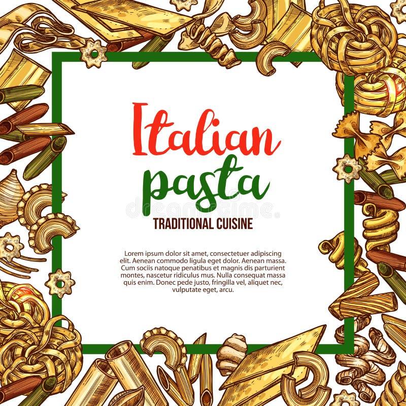 Vektorpasta skissar affischen för italiensk kokkonst royaltyfri illustrationer