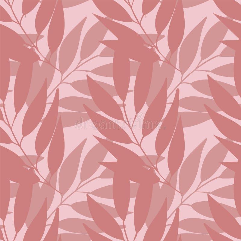 Vektorpastellniederlassungen mit nahtloser Musterwiederholung der Blätter vektor abbildung