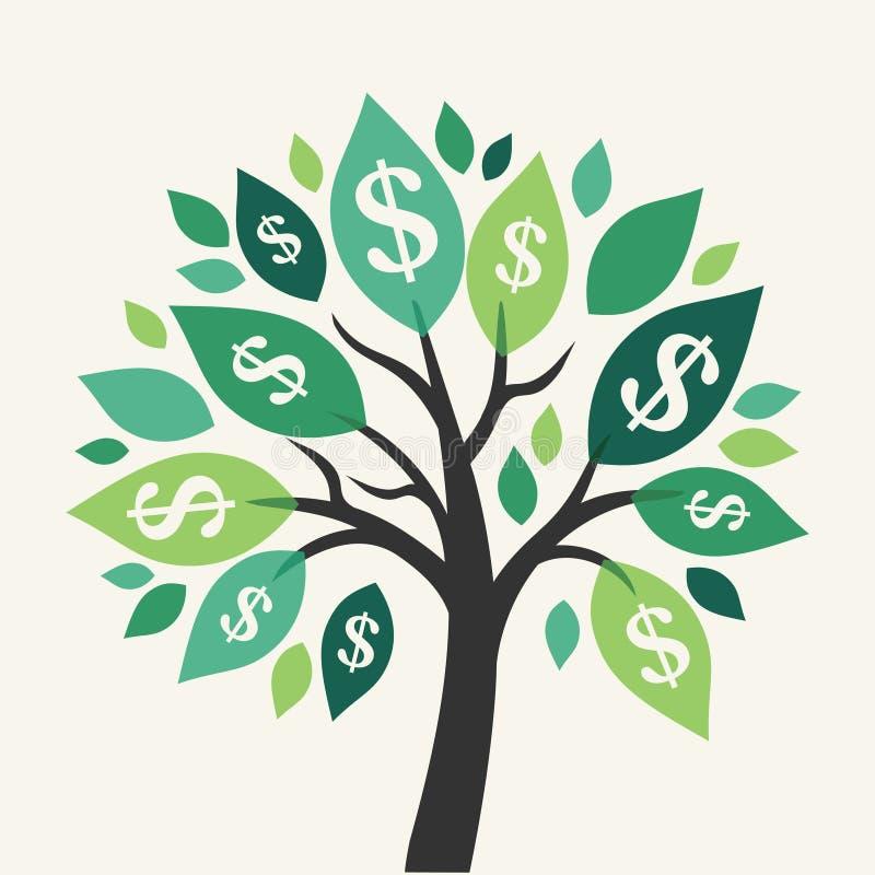 Vektorpengarträd royaltyfri illustrationer