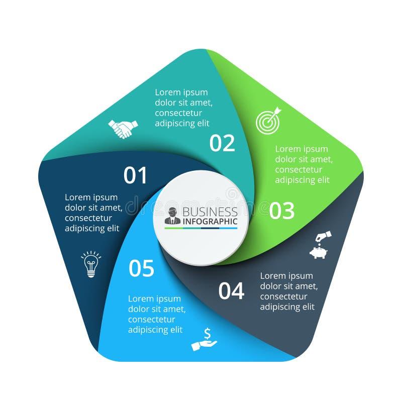Vektorpentagonbeståndsdel för infographic Affärsidé med 5 vektor illustrationer