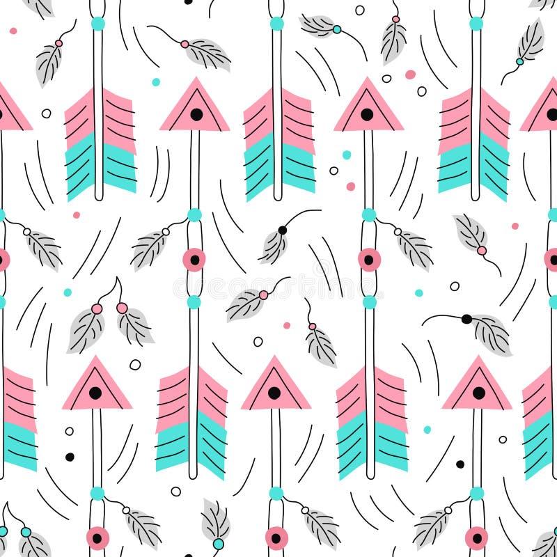Vektorpfeil nahtloses pattwern Nette Bogenschießenelemente Traditioneller Hintergrund Hand gezeichnete Tapete des amerikanischen  stock abbildung