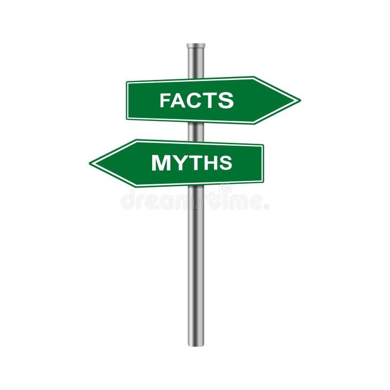 Vektorpfeile auf Lager unterzeichnen Tatsachen und Mythen vektor abbildung