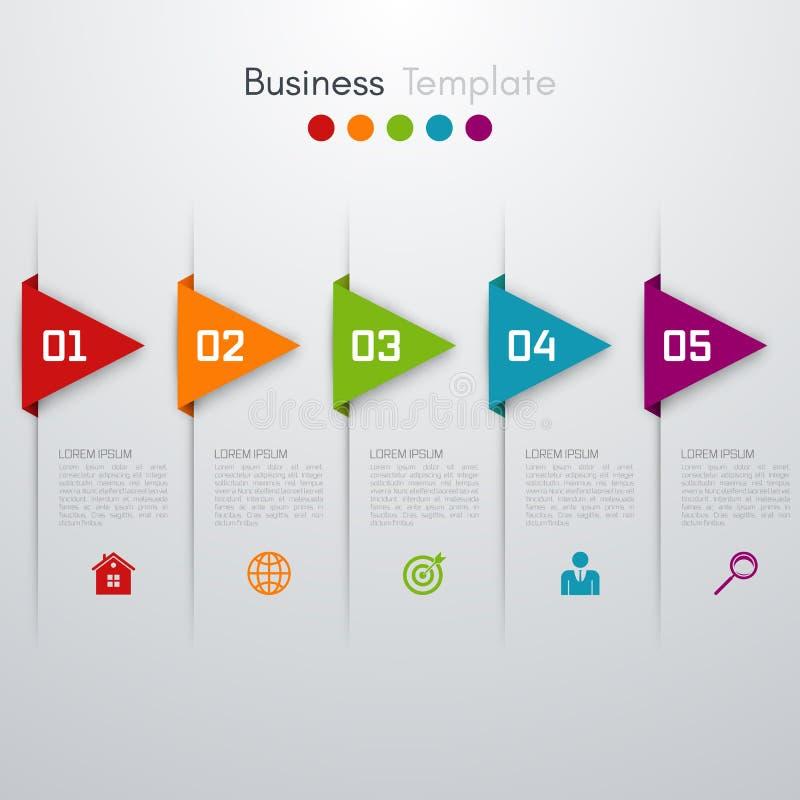 Vektorpfeile infographic Schablone für Diagramm stock abbildung