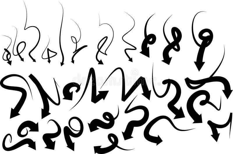 Vektorpilar virvlar runt pilörten royaltyfri illustrationer