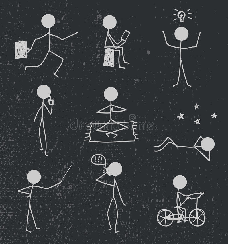 Vektorpinneman, diagram hand dragit dagligt liv stock illustrationer
