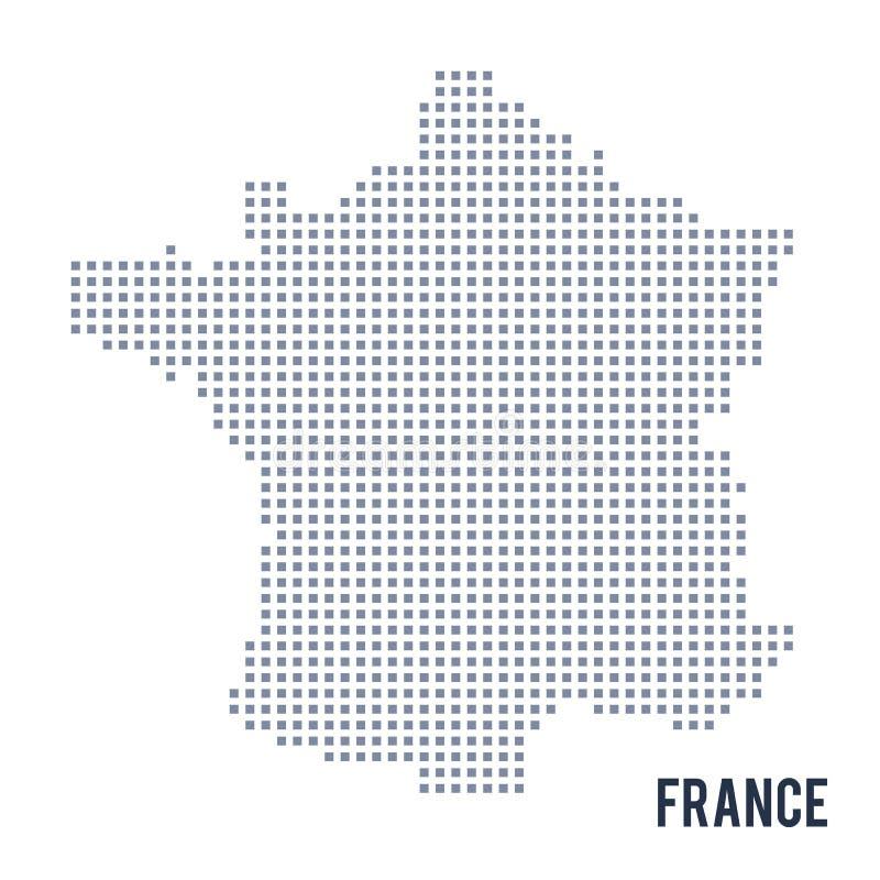 VektorPIXELöversikten av Frankrike isolerade på vit bakgrund royaltyfri illustrationer