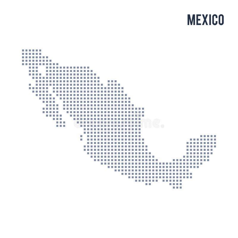VektorPIXELöversikten av Mexico isolerade på vit bakgrund vektor illustrationer