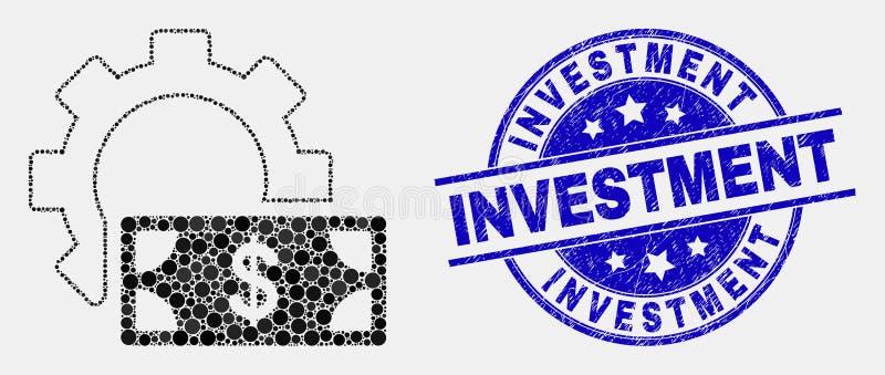 VektorPixelated utrustar finansiella inställningar symbols- och Grungeinvesteringskyddsremsan vektor illustrationer