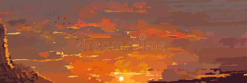 VektorPIXELbakgrund med aftonhimmel och moln royaltyfri illustrationer