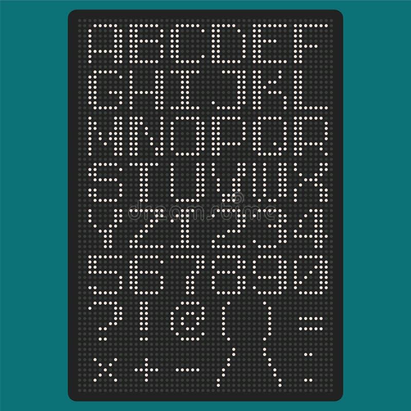 VektorPIXELstilsort med uppercase bokstäver av latinska charsetskiljetecken och nummer vektor illustrationer