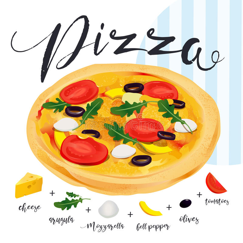 Vektorpizza mit vielen lokalisierten Komponenten Italienische Pizza Ingred lizenzfreie abbildung