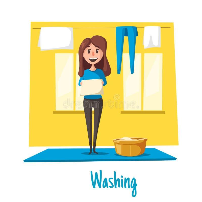 Vektorplakat der Frauen- und Wäschereireinigung vektor abbildung