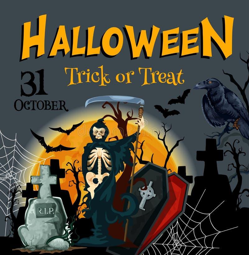 Vektorplakat der Halloween-Todespartei Süßes sonst gibt's Saures vektor abbildung