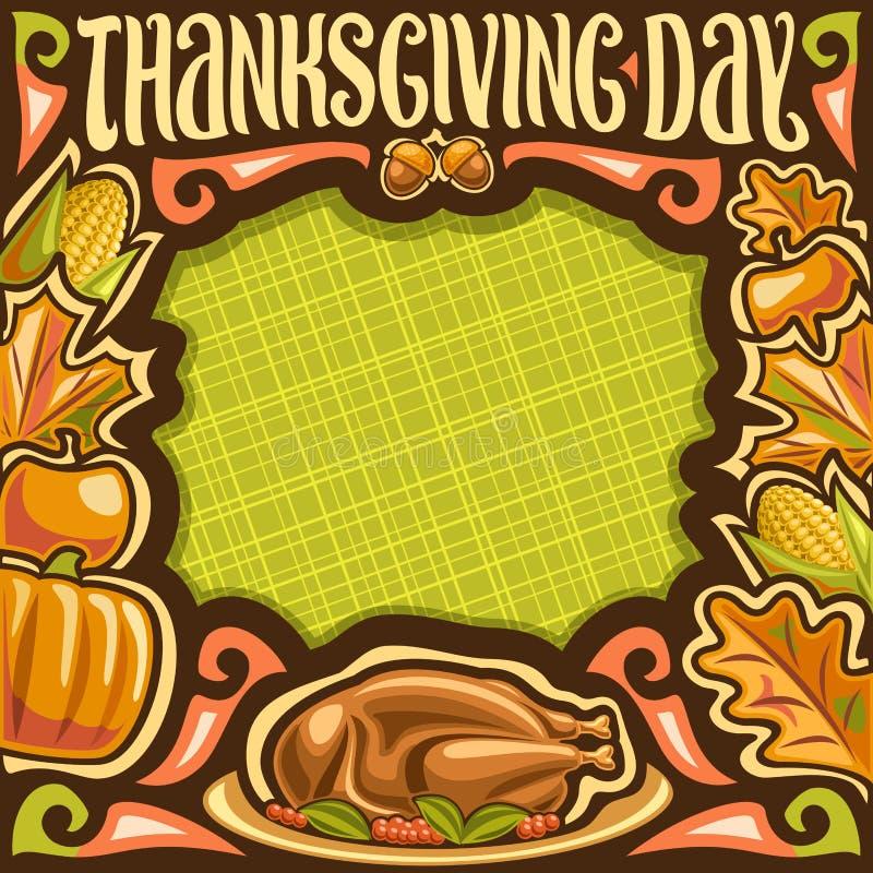 Vektorplakat för tacksägelsedag stock illustrationer