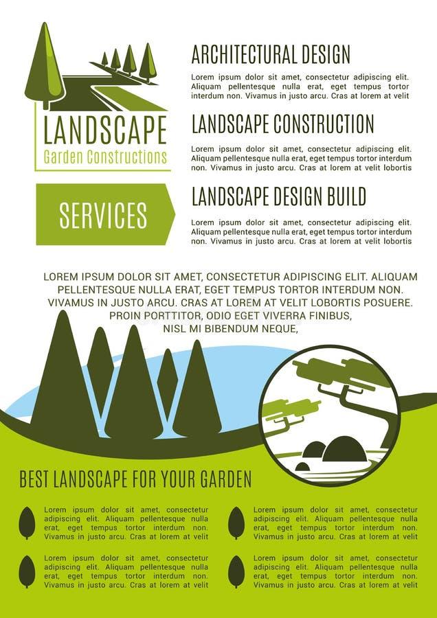 Vektorplakat für Landschaftsgarten-Designfirma lizenzfreie abbildung