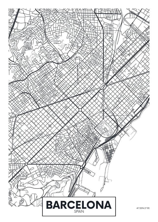 Vektorplakat-Kartenstadt Barcelona lizenzfreie abbildung