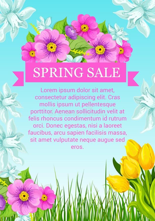 Vektorplakat mit Blumen für Frühlingsverkauf lizenzfreie abbildung