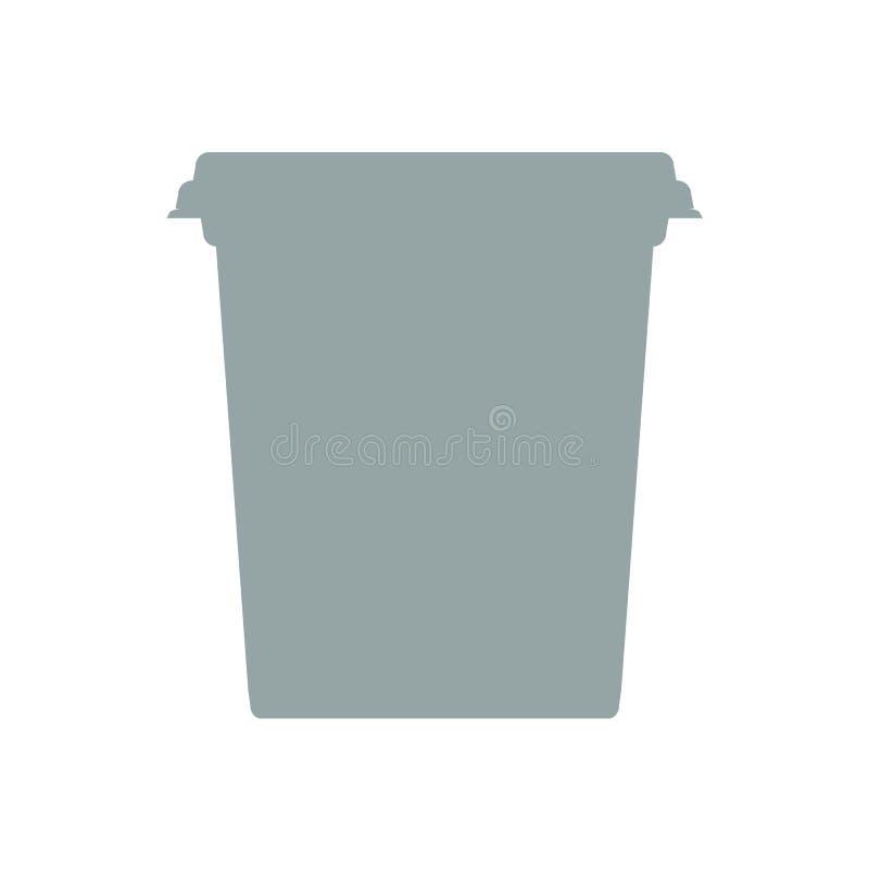 Vektorplast- badar den hinkbehållaren eller packen för efterrätten, yoghurten, glass, gräddfil med kontureffekt för vektor illustrationer