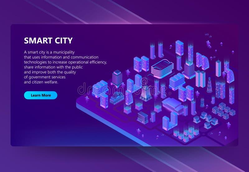 Vektorplats med isometriska ultravioletta megapolis 3d stock illustrationer