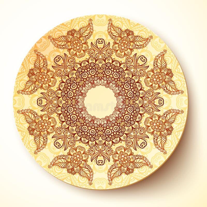 Vektorplattenschablone mit dem indischen mehndi rund lizenzfreie abbildung