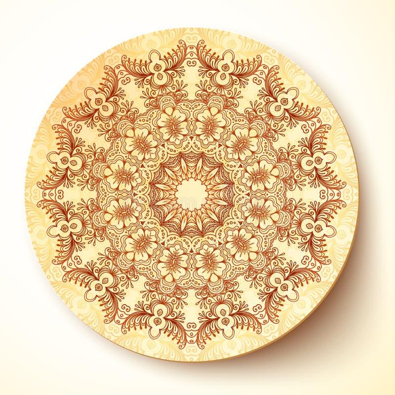 Vektorplattenschablone mit dem indischen mehndi rund stock abbildung