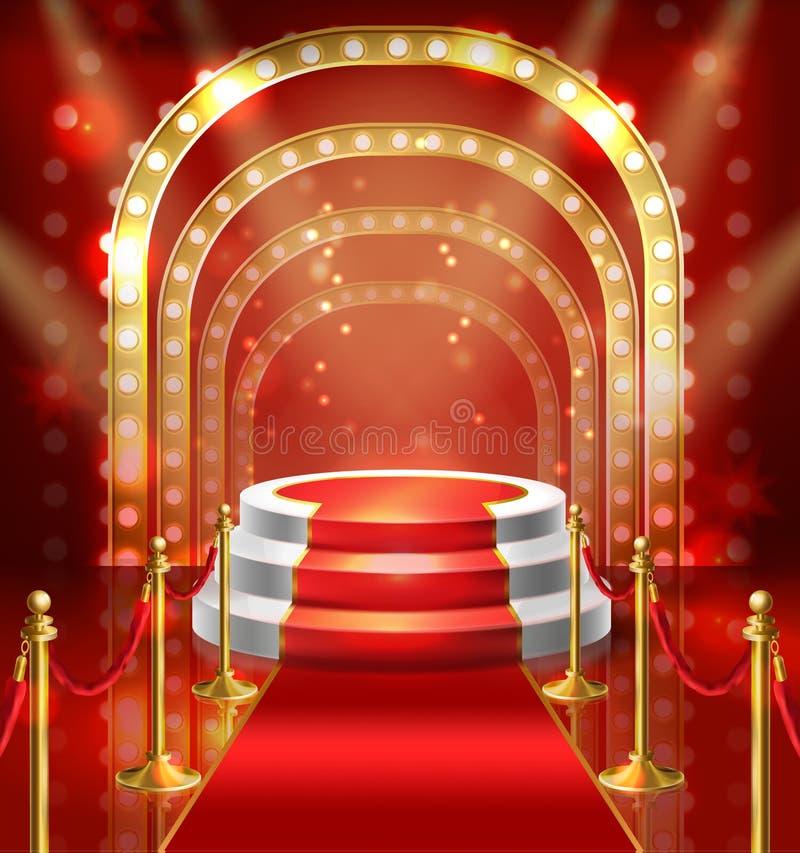 Vektorpodium för show med röd matta royaltyfri illustrationer