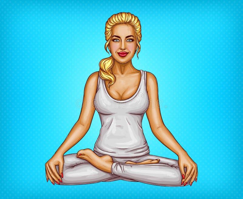 Vektorpopkonst som ler flickasammanträde i lotusblomma, poserar vektor illustrationer