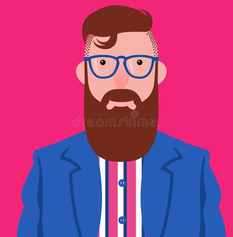 Vektorporträt des eleganten Hippies mit langen braunen Bart und dem Schnurrbart lizenzfreie abbildung