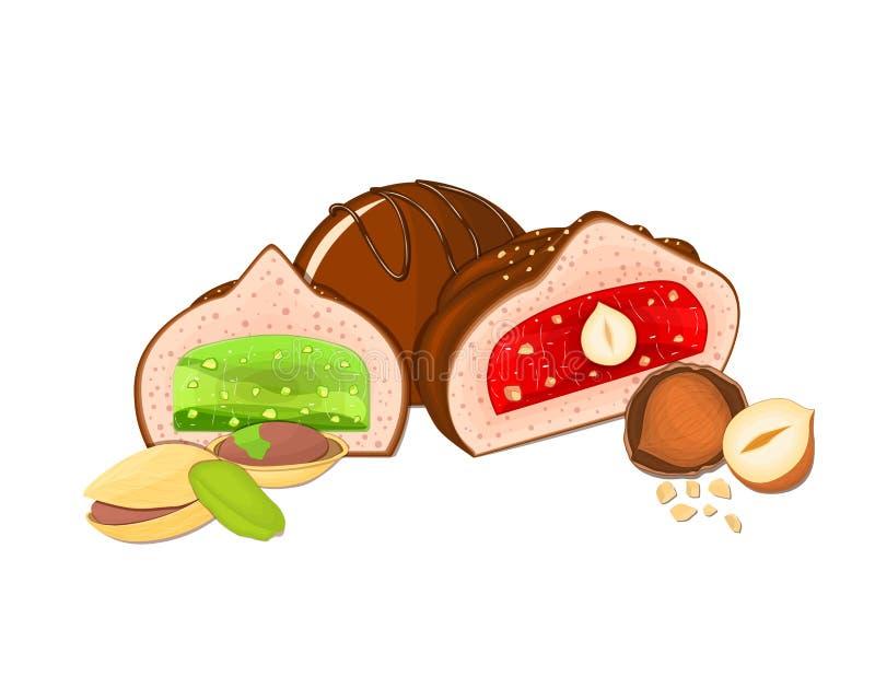 Vektorpralineillustration Satz von drei Schokoladen ein Ganzes und eine Scheibe mit Erdbeere gelieren Haselnussgrün vektor abbildung