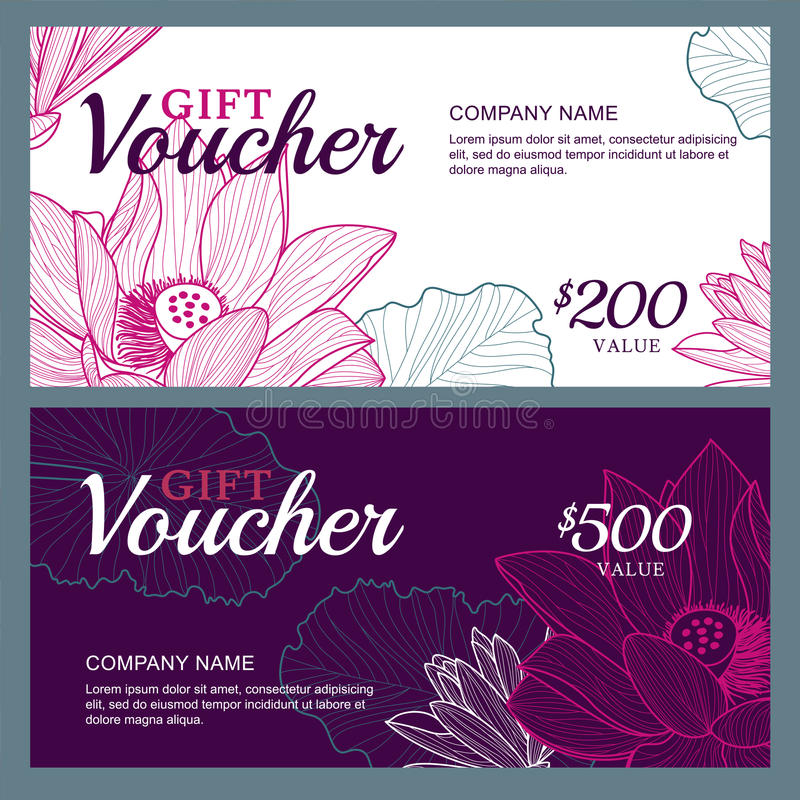 Vektorpresentkortmallen med lotusblomma, lilja blommar stock illustrationer