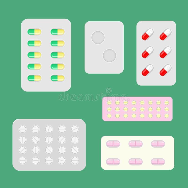 Vektorpreventivpillerar och kapslar i olika färger, formar och format i blåsapackar Av de individuella beståndsdelarna royaltyfri illustrationer