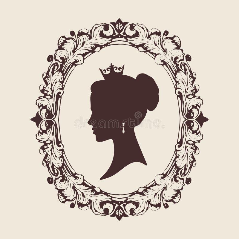 Vektorprofilkontur av en prinsessa i en ram royaltyfri illustrationer