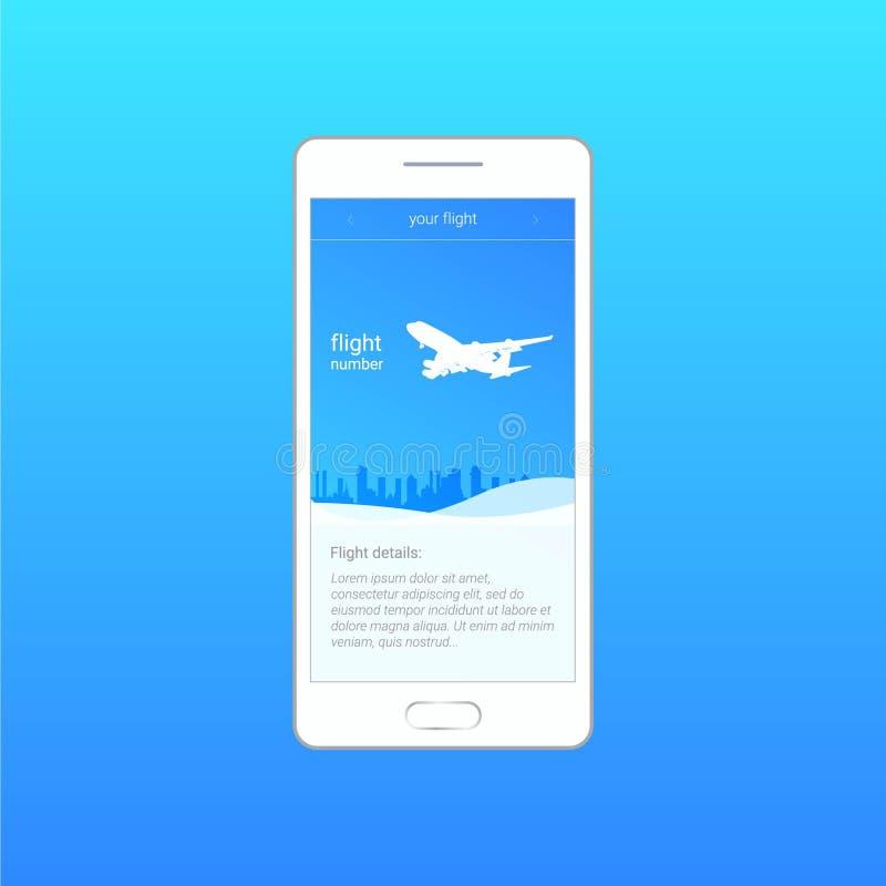 Vektorprogramm Flug, Flugzeug über der Stadt, der Zeitplan, die Flugnummer Bewegliche APP lizenzfreie abbildung