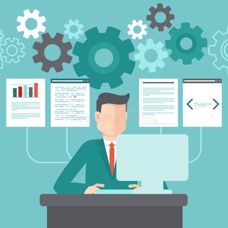 Vektorprogrammerare som arbetar på kod royaltyfri illustrationer