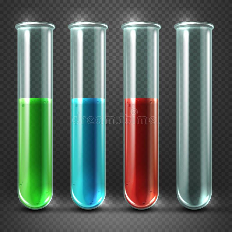 Vektorprovrör fyllde med flytande av olikt färger och blod vektor illustrationer
