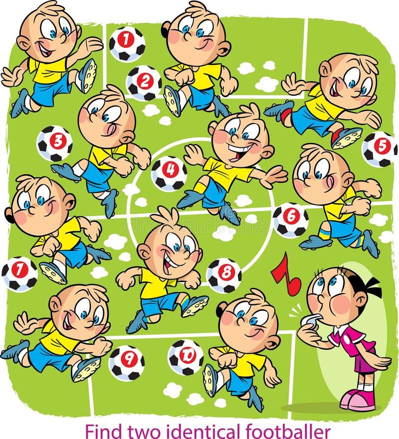 Vektorpussel med fotbollspelare på fältet vektor illustrationer