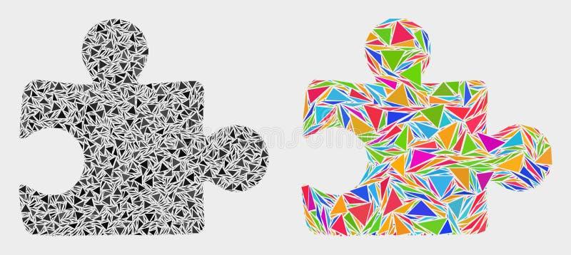 Vektorpusselinkopplingsmosaisk symbol av triangelobjekt stock illustrationer