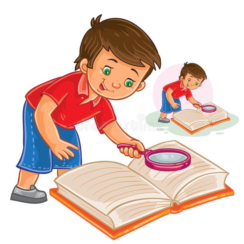 Vektorpys som läser en bok med ett förstoringsglas vektor illustrationer