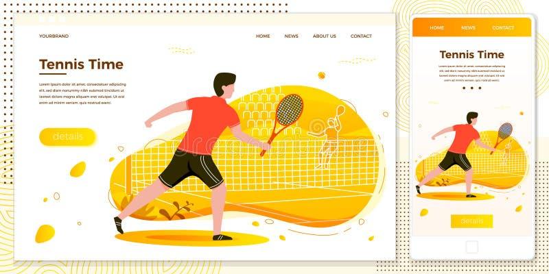Vektorquerplattformillustrations-Tennismann stock abbildung