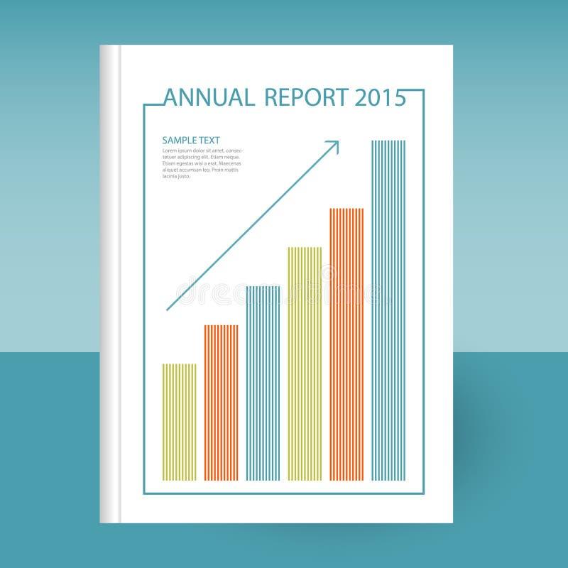 Vektorräkningen av årsrapporten med växer grafen och pilen royaltyfri illustrationer