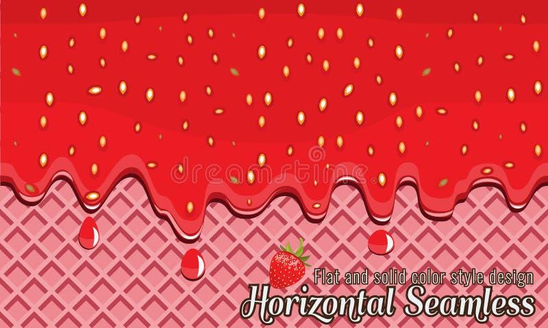 Vektorrån och horisontellt sömlöst jordgubbedriftstopp flöda royaltyfri illustrationer