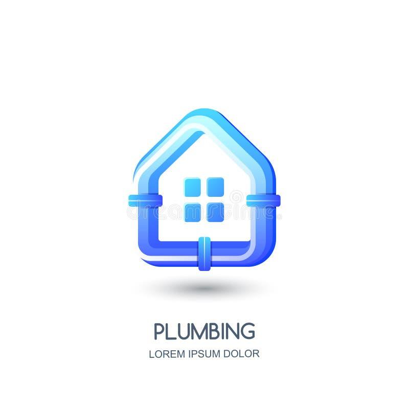 Vektorrörmokerilogo, symbol, emblemdesignmall Blått rör i husform Begrepp för pipelayingreparationsservice stock illustrationer