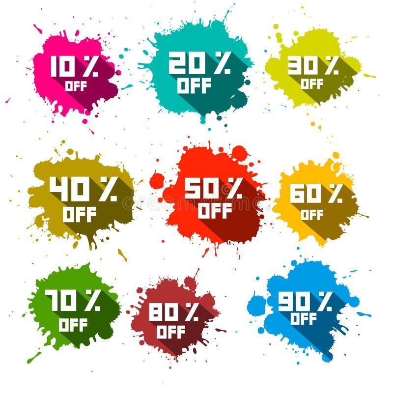 Vektorrabattfärgstänk - etikettuppsättning royaltyfri illustrationer