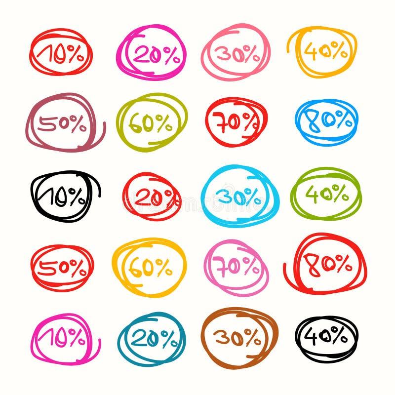 Vektorrabattklistermärkear, etiketter vektor illustrationer
