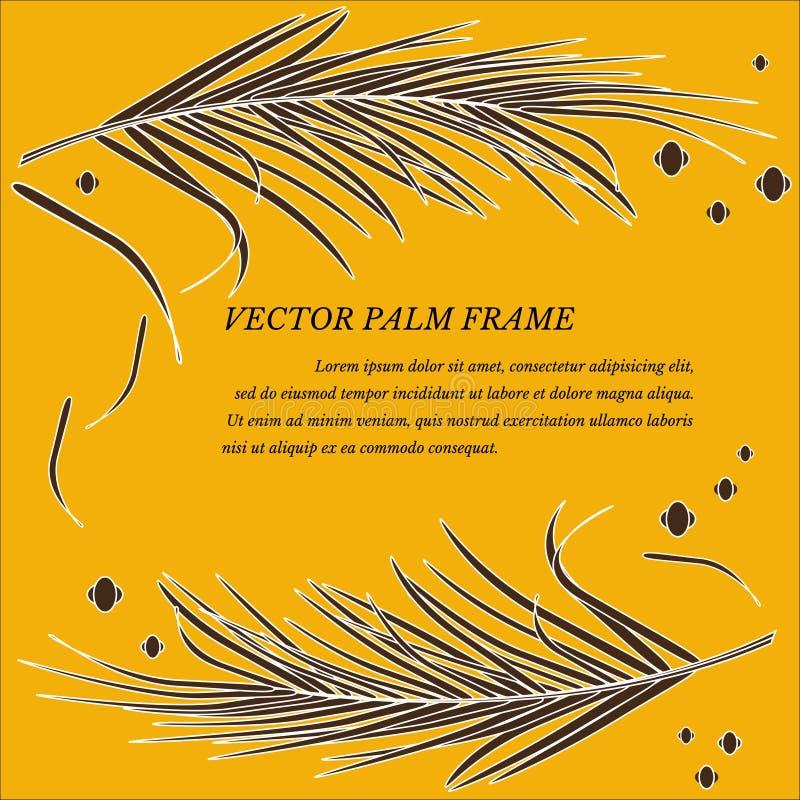 Vektorrahmen mit dekorativen Palmblättern in den Tropen auf Luxusgoldhintergrund Helle moderne goldene luxuri?se Farben lizenzfreie abbildung