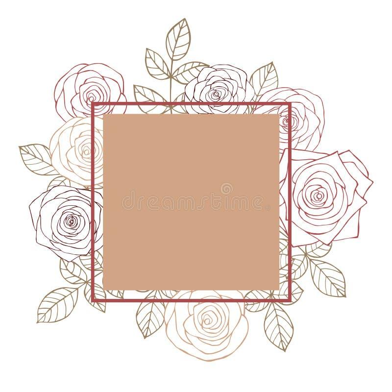 Vektorrahmen mit Hand gezeichneten Rosen lizenzfreie abbildung
