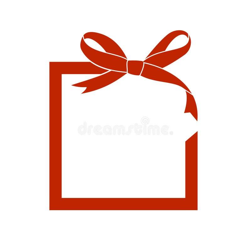Vektorrahmen mit rotem Bogen und Band des Geschenks Hintergrund beleuchtete Girlande der farbigen Glühlampen Vektor-leere Verkauf stockfoto