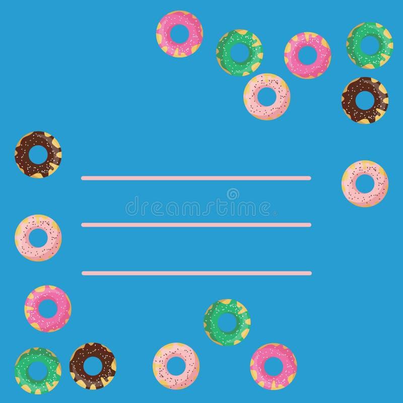 Vektorram av donuts på blå bakgrund Plan stil av choklad, mintkaramellen, jordgubben och vanilj glasade donuts royaltyfri illustrationer